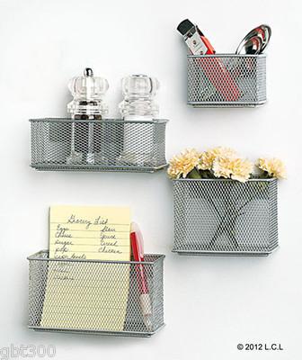 4 Magnetic Mesh Baskets IN STOCK Fridge Silver Storage Bins .